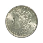 1884CC Morgan Silver Dollar in Uncirculated Condition (MS62) Graded by AACGS