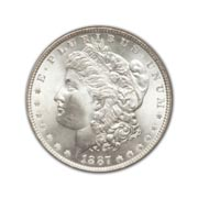 1887P Morgan Silver Dollar in Uncirculated Condition (MS62) Graded by AACGS