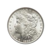 1889CC Morgan Silver Dollar in Uncirculated Condition (MS62) Graded by AACGS