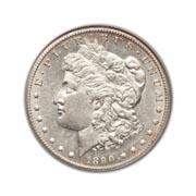 1890CC Morgan Silver Dollar in Uncirculated Condition (MS62) Graded by AACGS