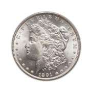 1891S Morgan Silver Dollar in Uncirculated Condition (MS62) Graded by AACGS