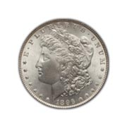 1896P Morgan Silver Dollar in Uncirculated Condition (MS62) Graded by AACGS