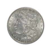 1897P Morgan Silver Dollar in Uncirculated Condition (MS62) Graded by AACGS
