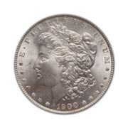 1900P Morgan Silver Dollar in Uncirculated Condition (MS62) Graded by AACGS