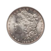 1888P Morgan Silver Dollar in Extra Fine Condition (XF40) Graded by AACGS