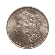 1902P Morgan Silver Dollar in Extra Fine Condition (XF40) Graded by AACGS
