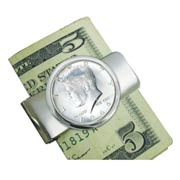 1964 First-Year-of-Issue Silver JFK Half Dollar Silvertone Money Clip