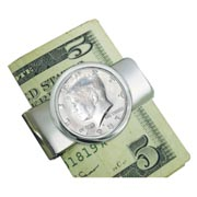 Proof JFK Half Dollar Silvertone Money Clip