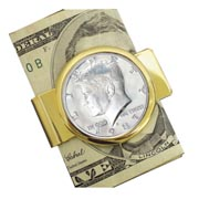 Proof JFK Half Dollar Goldtone Money Clip