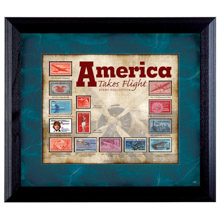 America Takes Flight Stamp Collection in Wall Frame