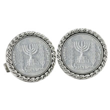 Israel Menorah Coin Cuff Links