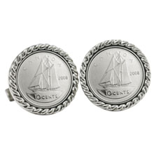 Canada Ship Coin Cuff Links
