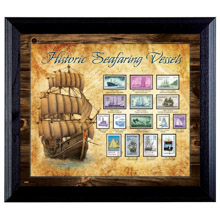 Ships on Stamps in Wall Frame