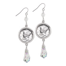 Mercury Dime Crystal Drop Earrings