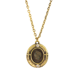 Gold Tone Widow's Mite Pendant With Verse