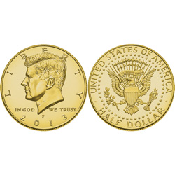 2013 50th Golden Anniversary JFK Half Dollar Layered in Pure Gold