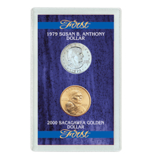 First 1979 Susan B. Anthony Dollar & 2000 First Sacagawea Dollar