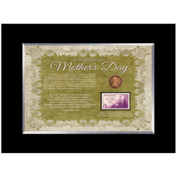 Mother's Day Celebration Frame with Stamp and Coin