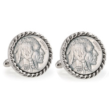 Buffalo Nickel Silvertone Rope Bezel Cuff Links