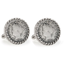 Liberty Nickel Silvertone Rope Bezel Cuff Links