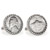 Silver Jefferson Nickel Wartime Nickel Silvertone Rope Bezel Cuff Links