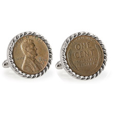 Lincoln Wheat-Ear Penny Cuff Silvertone Rope Bezel Cuff Links