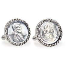 1943 Lincoln Steel Penny Silvertone Rope Bezel Cuff Links