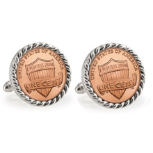 Lincoln Union Shield Penny Silvertone Rope Bezel Cuff Links