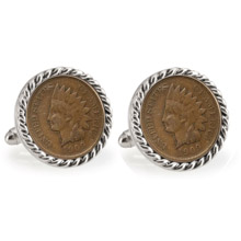 Indian Head Penny Silvertone Rope Bezel Cuff Links