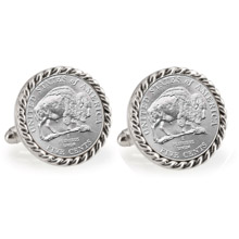 2005 Bison Nickel Silvertone Rope Bezel Cuff Links