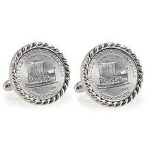 2004 Keelboat Silvertone Rope Bezel Cuff Links