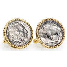 Buffalo Nickel Goldtone Rope Bezel Cuff Links