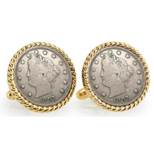 Liberty Nickel Goldtone Rope Bezel Cuff Links