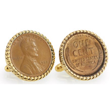 Lincoln Wheat-Ear Penny Cuff Goldtone Rope Bezel Cuff Links