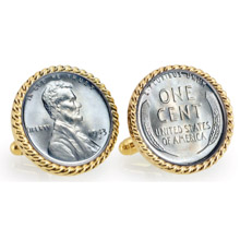 1943 Lincoln Steel Penny Goldtone Rope Bezel Cuff Links