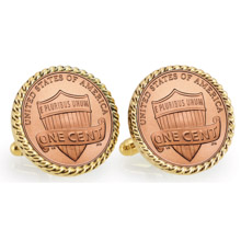 Lincoln Union Shield Penny Goldtone Rope Bezel Cuff Links