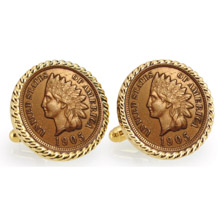 Indian Head Penny Goldtone Rope Bezel Cuff Links