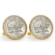2005 Bison Nickel Goldtone Rope Bezel Cuff Links
