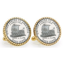 2004 Keelboat Goldtone Rope Bezel Cuff Links