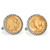 Gold-Layered Buffalo Nickel Silvertone Rope Bezel Cuff Links