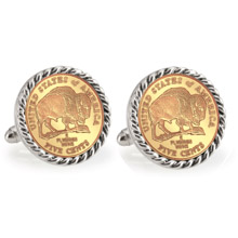 Gold-Layered 2005 Bison Nickel Silvertone Rope Bezel Cuff Links