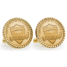 Gold-Layered Lincoln Union Shield Penny Goldtone Rope Bezel Cuff Links
