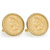 Gold-Layered 1859 First-Year-of-Issue Indian Head Penny Goldtone Rope Bezel Cuff Links