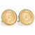 Gold-Layered Civil War Indian Head Penny Goldtone Rope Bezel Cuff Links