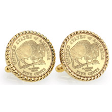 Gold-Layered 2005 Bison Nickel Goldtone Rope Bezel Cuff Links