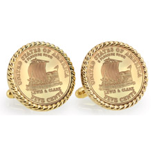 Gold-Layered 2004 Keelboat Goldtone Rope Bezel Cuff Links