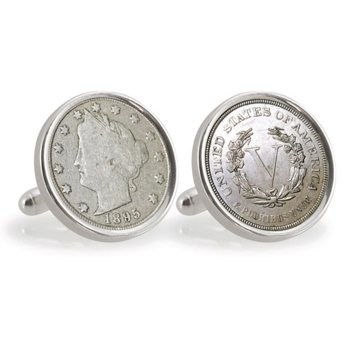 1800 S Liberty Nickel Sterling Silver Cuff Links