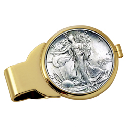 Silver Walking Liberty Half Dollar Goldtone Money Clip