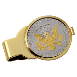 Selectively Gold-Layered Presidential Seal Half Dollar Goldtone Money Clip