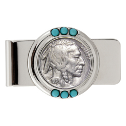 Buffalo Nickel Turquoise Money Clip
